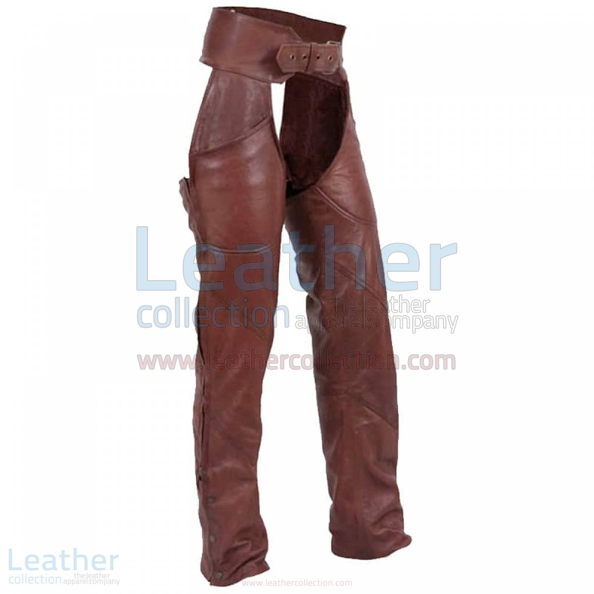 brown leather motorcycle chaps