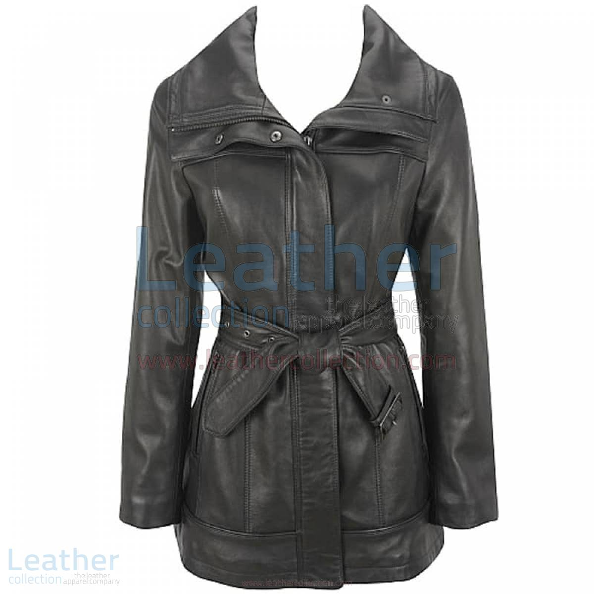Belted Leather Duffle Coat
