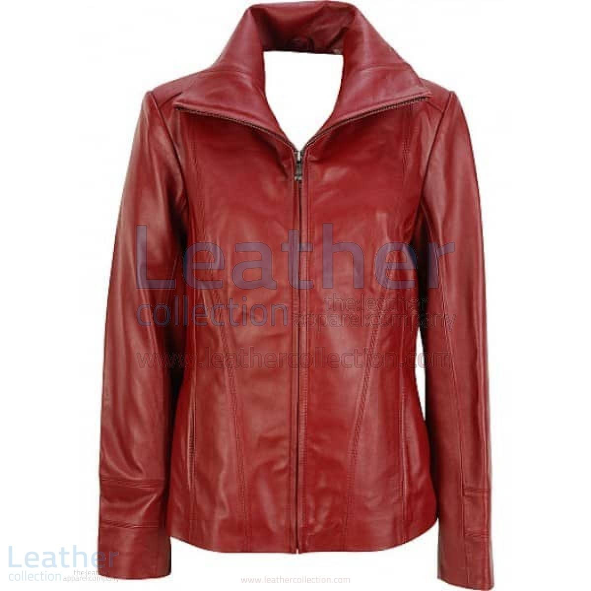 Dark Red Leather Fashion Jacket