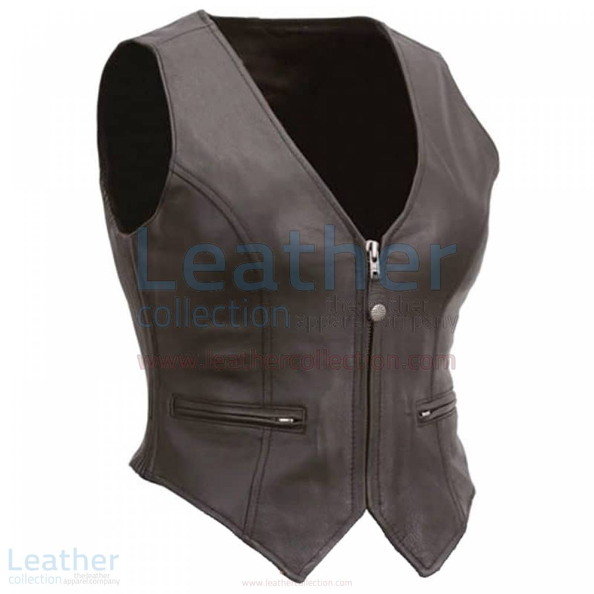 Ladies Motorcycle Leather Zipper Vest
