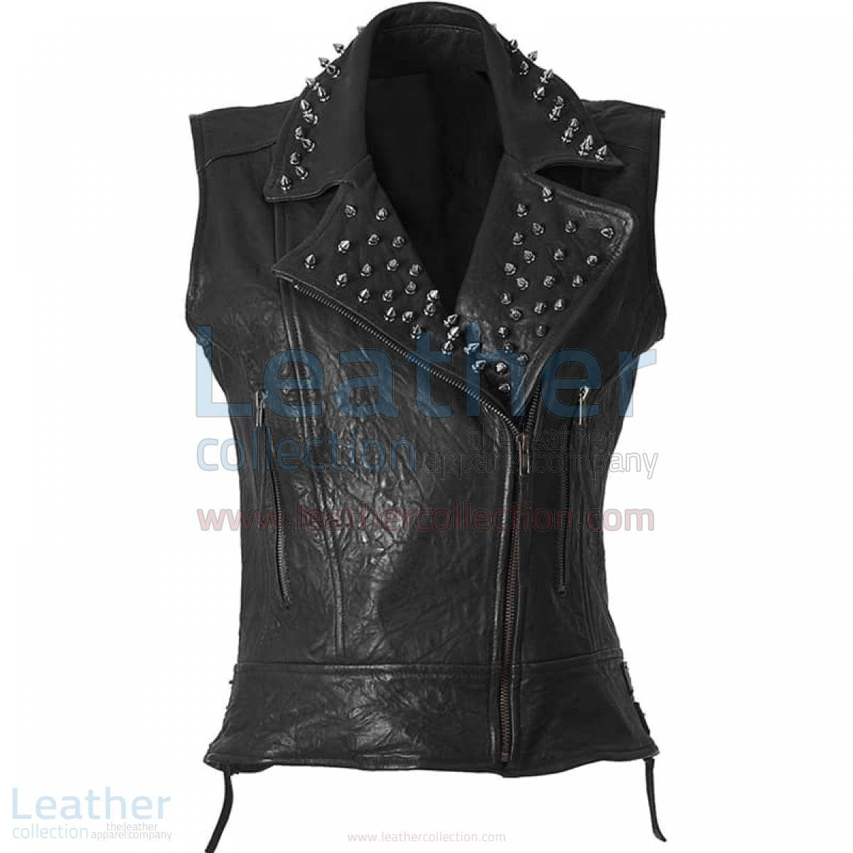 spiked leather vest